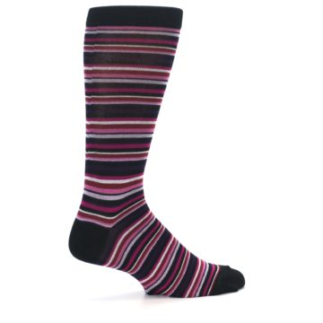 Image of Black Purple Pink Stripe Men's Dress Socks (side-1-23)