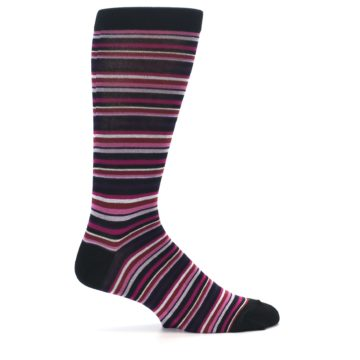 Image of Black Purple Pink Stripe Men's Dress Socks (side-1-24)