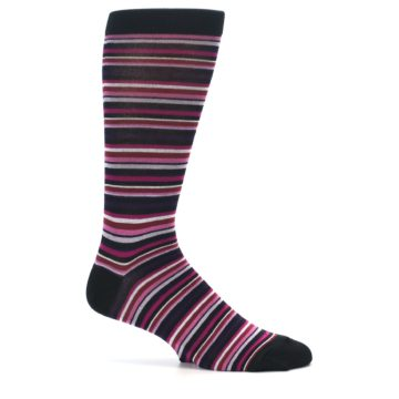 Image of Black Purple Pink Stripe Men's Dress Socks (side-1-25)