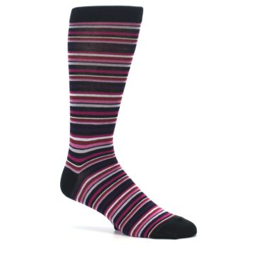 Image of Black Purple Pink Stripe Men's Dress Socks (side-1-26)