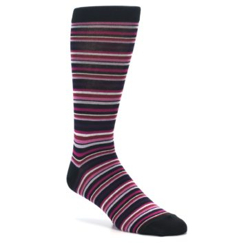 Image of Black Purple Pink Stripe Men's Dress Socks (side-1-27)