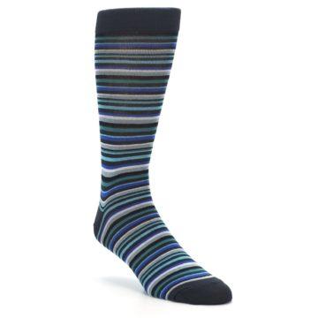Image of Charcoal Blue Green Stripe Men's Dress Socks (side-1-front-02)