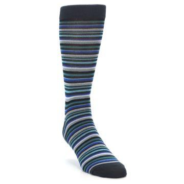 Image of Charcoal Blue Green Stripe Men's Dress Socks (side-1-front-03)