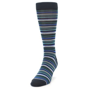 Image of Charcoal Blue Green Stripe Men's Dress Socks (side-2-front-07)