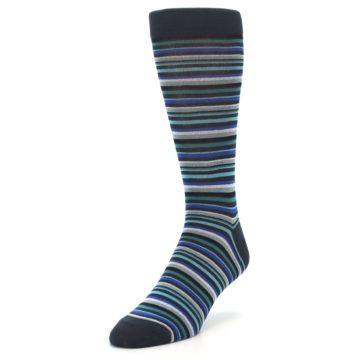 Image of Charcoal Blue Green Stripe Men's Dress Socks (side-2-front-08)