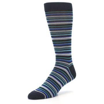 Image of Charcoal Blue Green Stripe Men's Dress Socks (side-2-09)