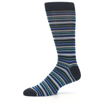 Image of Charcoal Blue Green Stripe Men's Dress Socks (side-2-11)
