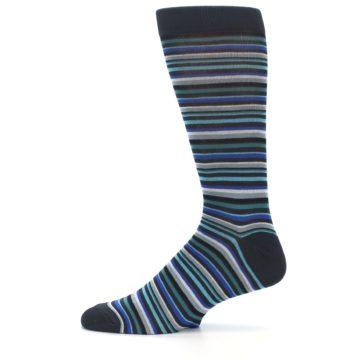 Image of Charcoal Blue Green Stripe Men's Dress Socks (side-2-12)