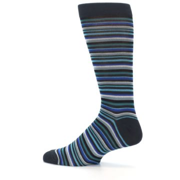 Image of Charcoal Blue Green Stripe Men's Dress Socks (side-2-13)