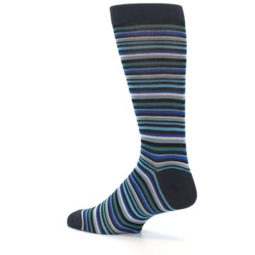 Image of Charcoal Blue Green Stripe Men's Dress Socks (side-2-back-14)