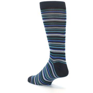 Image of Charcoal Blue Green Stripe Men's Dress Socks (side-2-back-15)