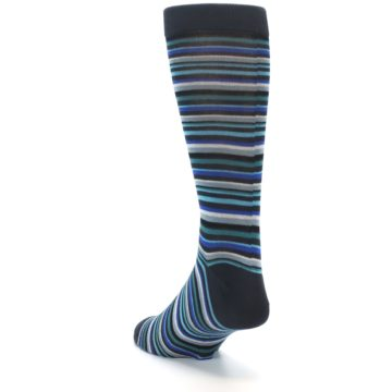 Image of Charcoal Blue Green Stripe Men's Dress Socks (side-2-back-16)