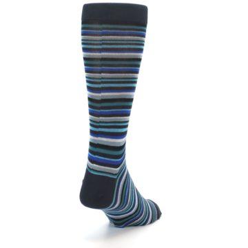 Image of Charcoal Blue Green Stripe Men's Dress Socks (side-1-back-20)