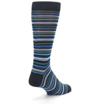 Image of Charcoal Blue Green Stripe Men's Dress Socks (side-1-back-21)
