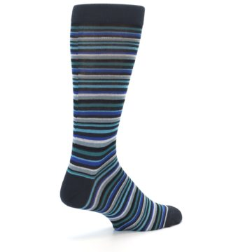 Image of Charcoal Blue Green Stripe Men's Dress Socks (side-1-back-22)