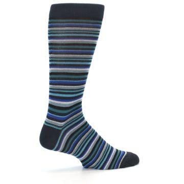 Image of Charcoal Blue Green Stripe Men's Dress Socks (side-1-23)