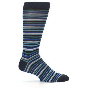 Image of Charcoal Blue Green Stripe Men's Dress Socks (side-1-24)