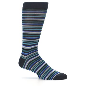 Image of Charcoal Blue Green Stripe Men's Dress Socks (side-1-25)