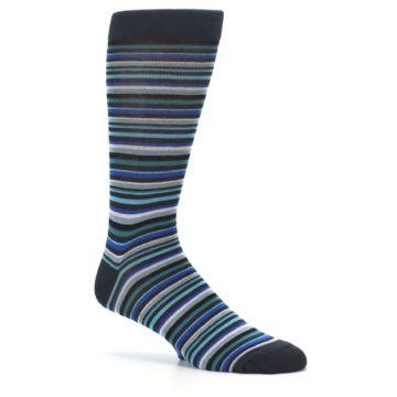 Image of Charcoal Blue Green Stripe Men's Dress Socks (side-1-26)