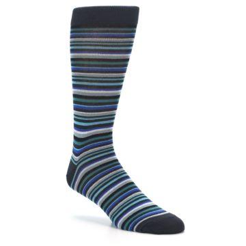 Image of Charcoal Blue Green Stripe Men's Dress Socks (side-1-27)