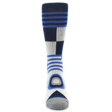 Image of Navy Blue Grey Patterned Men's Casual Socks (front-04)