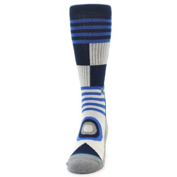 Image of Navy Blue Grey Patterned Men's Casual Socks (front-05)