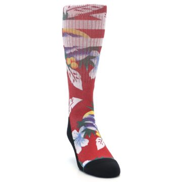 Image of Red Newport Floral Men's Casual Socks (side-1-front-03)