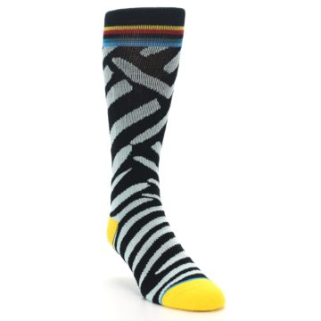 Image of Black Stripe Pattern Men's Casual Socks (side-1-front-02)