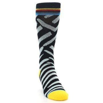 Image of Black Stripe Pattern Men's Casual Socks (side-1-front-03)