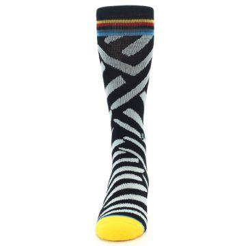 Image of Black Stripe Pattern Men's Casual Socks (front-05)