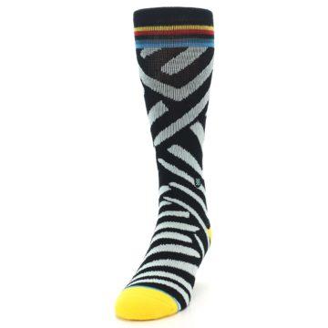 Image of Black Stripe Pattern Men's Casual Socks (side-2-front-06)