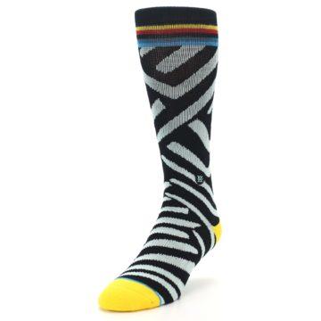 Image of Black Stripe Pattern Men's Casual Socks (side-2-front-07)