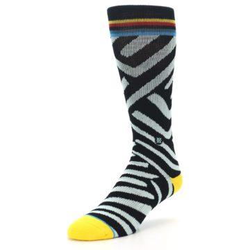Image of Black Stripe Pattern Men's Casual Socks (side-2-front-08)