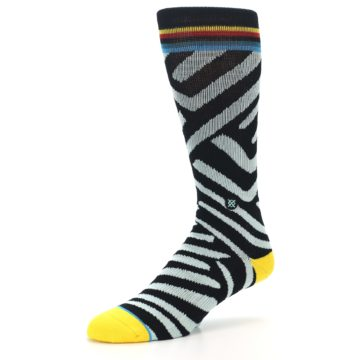 Image of Black Stripe Pattern Men's Casual Socks (side-2-09)