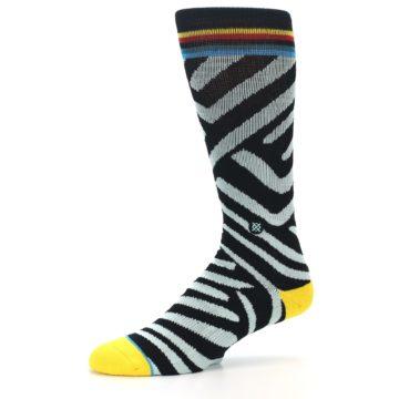Image of Black Stripe Pattern Men's Casual Socks (side-2-10)
