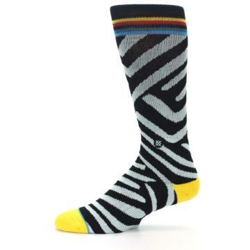 Image of Black Stripe Pattern Men's Casual Socks (side-2-11)