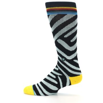 Image of Black Stripe Pattern Men's Casual Socks (side-2-12)