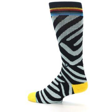 Image of Black Stripe Pattern Men's Casual Socks (side-2-13)