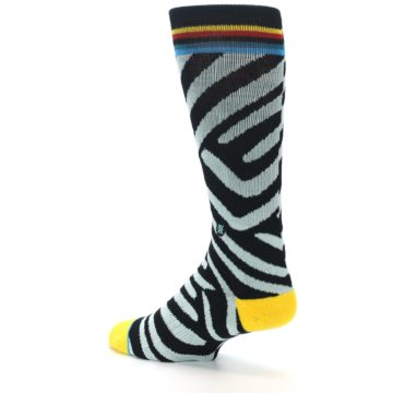 Image of Black Stripe Pattern Men's Casual Socks (side-2-back-14)