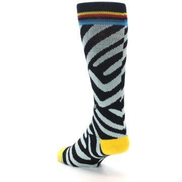 Image of Black Stripe Pattern Men's Casual Socks (side-2-back-15)