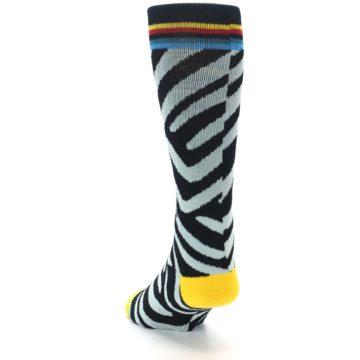 Image of Black Stripe Pattern Men's Casual Socks (side-2-back-16)