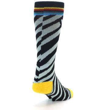 Image of Black Stripe Pattern Men's Casual Socks (side-1-back-20)
