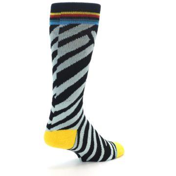 Image of Black Stripe Pattern Men's Casual Socks (side-1-back-21)