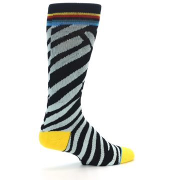 Image of Black Stripe Pattern Men's Casual Socks (side-1-back-22)
