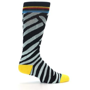 Image of Black Stripe Pattern Men's Casual Socks (side-1-23)