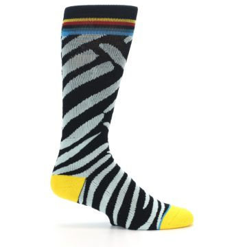 Image of Black Stripe Pattern Men's Casual Socks (side-1-24)