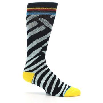 Image of Black Stripe Pattern Men's Casual Socks (side-1-25)