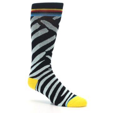 Image of Black Stripe Pattern Men's Casual Socks (side-1-26)