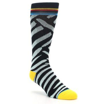 Image of Black Stripe Pattern Men's Casual Socks (side-1-27)