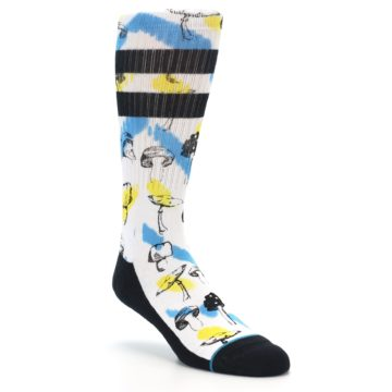 Image of White Blue Yellow Mushrooms Men's Casual Sock (side-1-front-02)